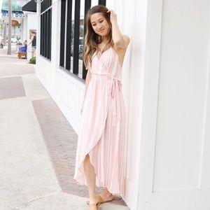 pink striped maxi